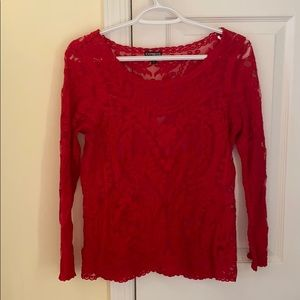 Long sleeves lace red top